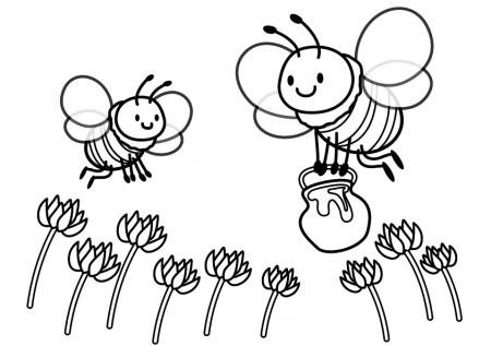 ぬりえ素材・みつばちとレンゲの花