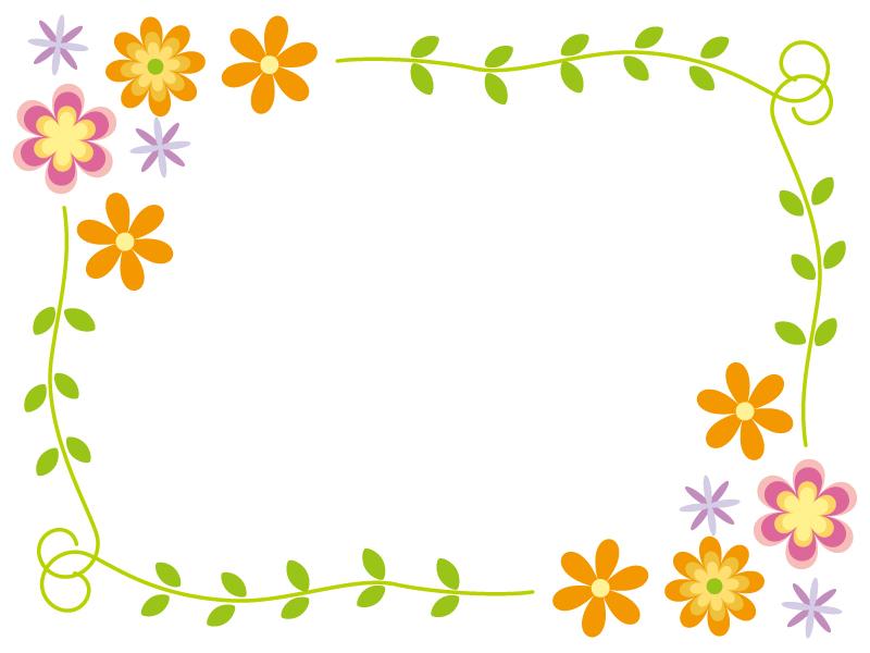 花のフレーム・飾り枠素材01
