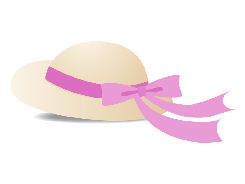 帽子(ピンクのリボン)のイラスト素材