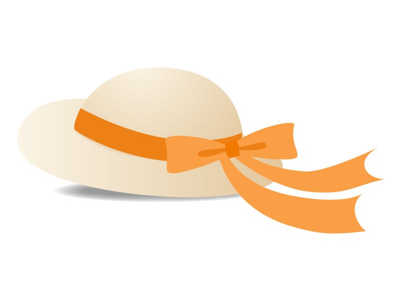 帽子(オレンジのリボン)のイラスト素材
