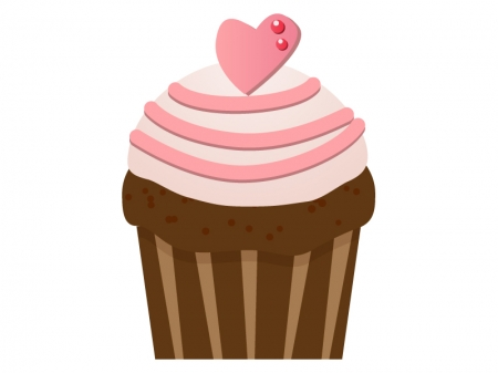 ピンクハートのカップケーキのイラスト素材