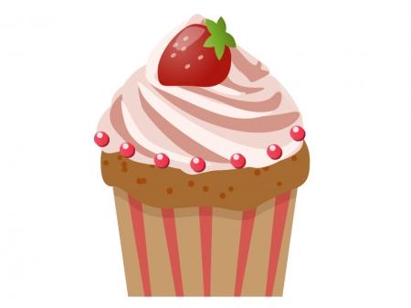 いちごのカップケーキのイラスト素材