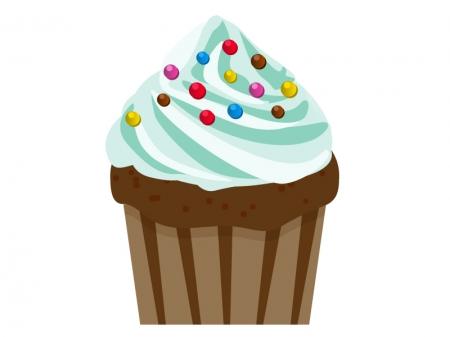 ミントグリーンのカップケーキのイラスト素材