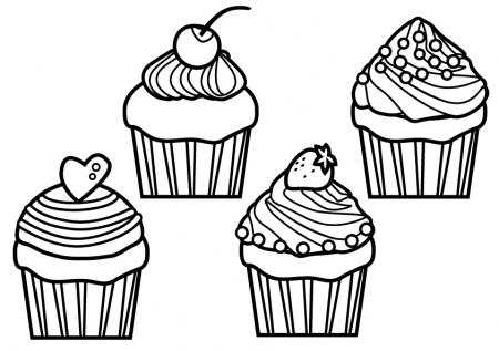 ぬりえ素材・カップケーキ