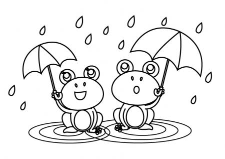 ぬりえ素材・傘を差しているカエル