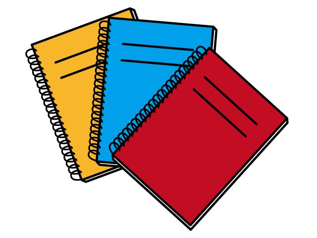 ノート三冊セットのイラスト素材