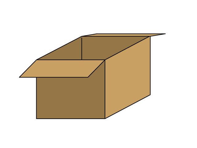 ふたが開いたダンボール箱のイラスト素材