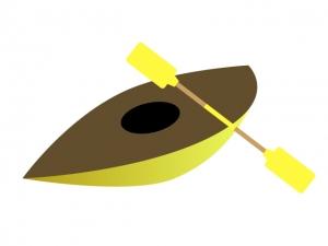 黄色いカヌーとオールのイラスト素材