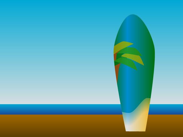 ビーチとサーフィンボードのイラスト素材