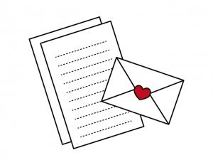 ハートマークの手紙イラスト素材