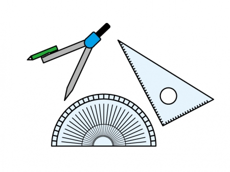 コンパス・三角定規・分度器の文房具セットのイラスト素材