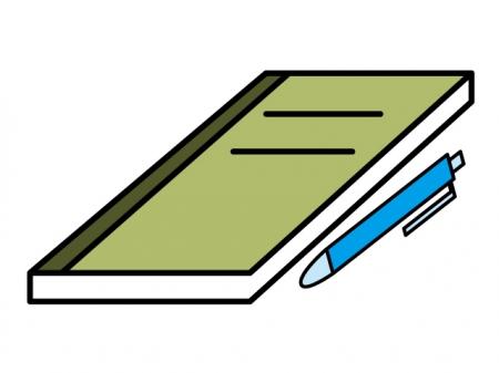 ノートとペンのイラスト素材