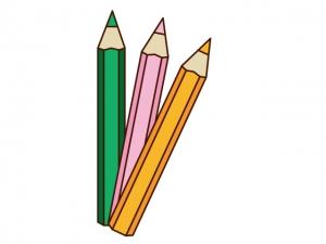 3色の色鉛筆イラスト素材