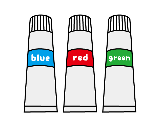 3色の絵の具・絵画イラスト素材