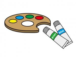 絵画とパレット・絵画のイラスト素材