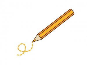 オレンジ色の色鉛筆のイラスト素材素材