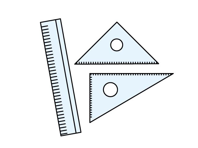 物差し(定規)と三角定規セット・文房具のイラスト素材