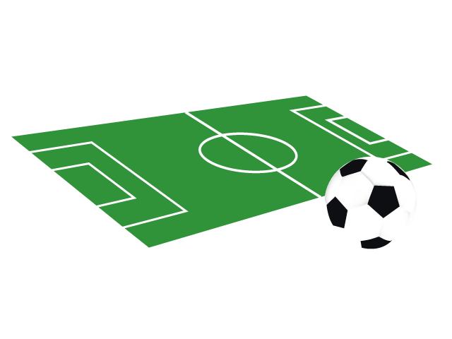 サッカーボールとグラウンドのイラスト素材