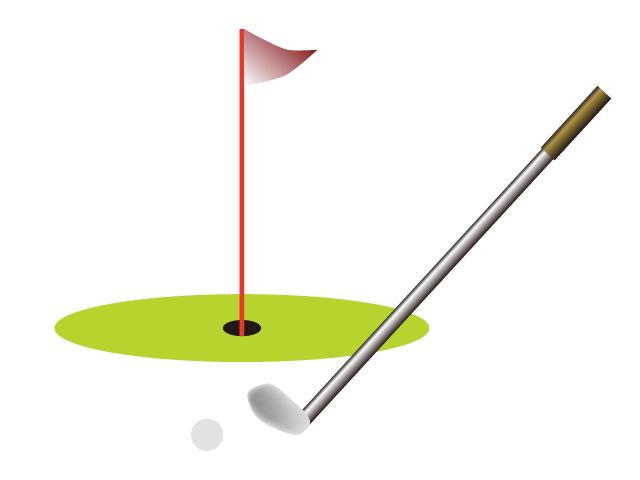 ゴルフのグリーンとクラブのイラスト素材