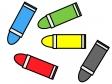 五色のクレヨンのイラスト素材