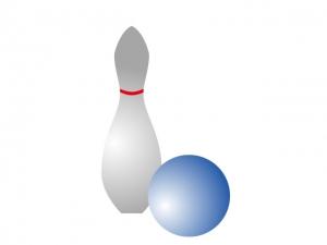 ボーリングのピンとボールのイラスト素材