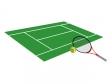 テニスラケットとコートのイラスト素材