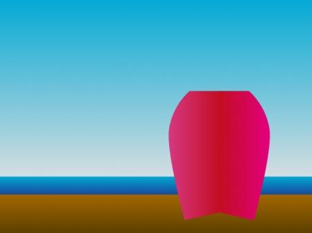 ビーチとボディボードのイラスト素材