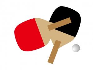 卓球のラケットとボールイラスト素材