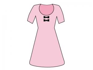 ピンク色のワンピースのイラスト素材