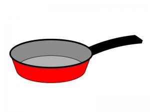 赤いフライパンのイラスト素材