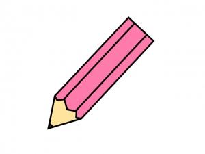ピンク色の鉛筆のイラスト素材