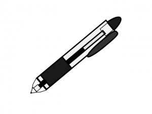 透明なノック式のボールペンのイラスト素材