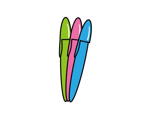 三色のサインペンのイラスト素材
