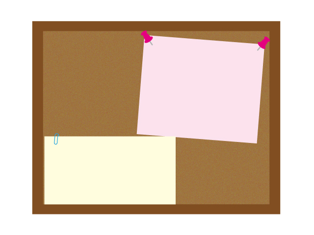 コルクボードとメモのイラスト素材