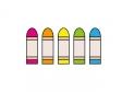 横に並んだ五色のクレヨンのイラスト素材