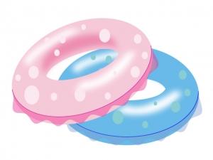 ピンク色と水色の浮き輪のイラスト素材
