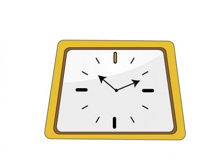 黄色い掛け時計のイラスト素材