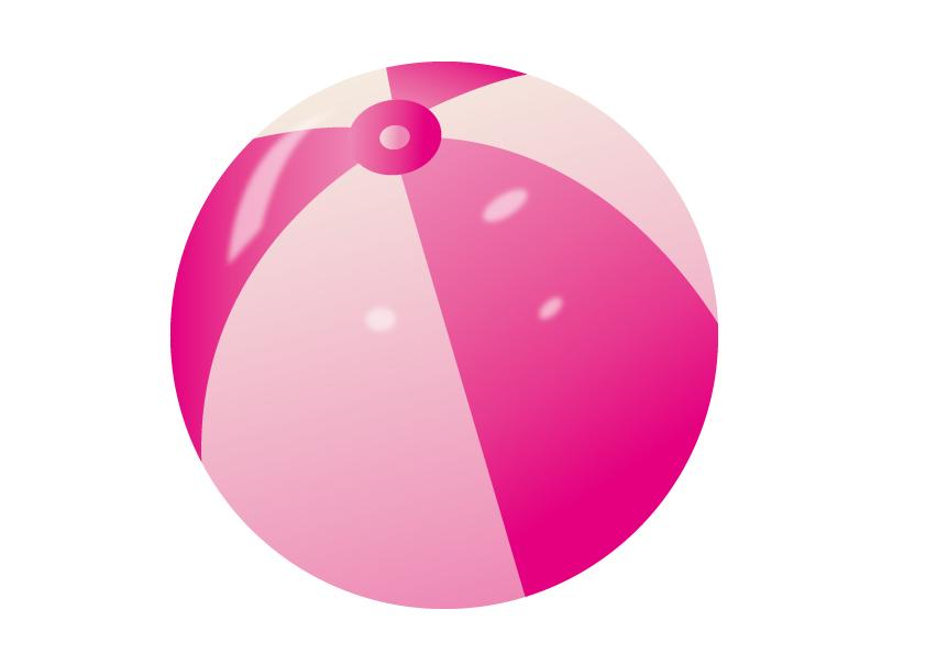 ピンク色のビーチボールのイラスト素材