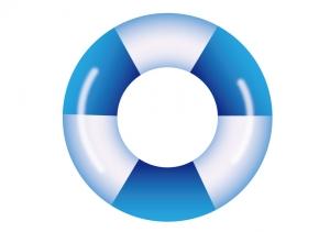 青と白の模様の浮き輪のイラスト素材