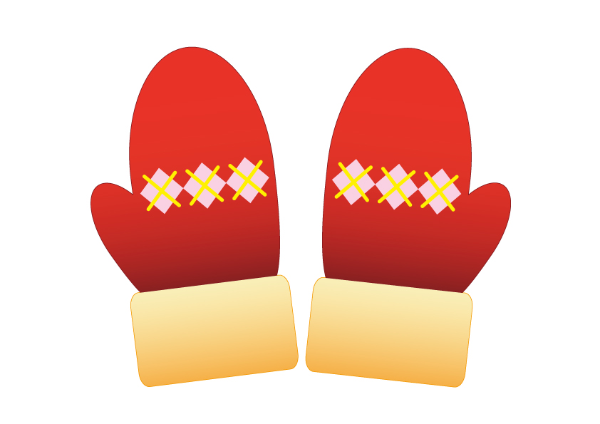 毛糸の赤い手袋のイラスト素材