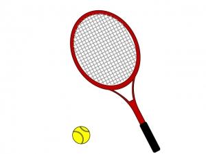 赤いテニスラケットとテニスボールのイラスト素材
