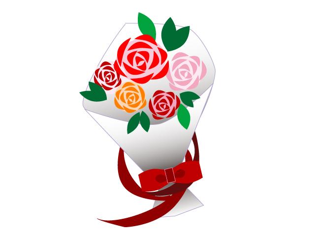 バラの花束のイラスト素材