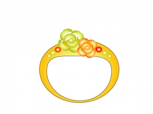 花の模様がついた金の指輪のイラスト素材