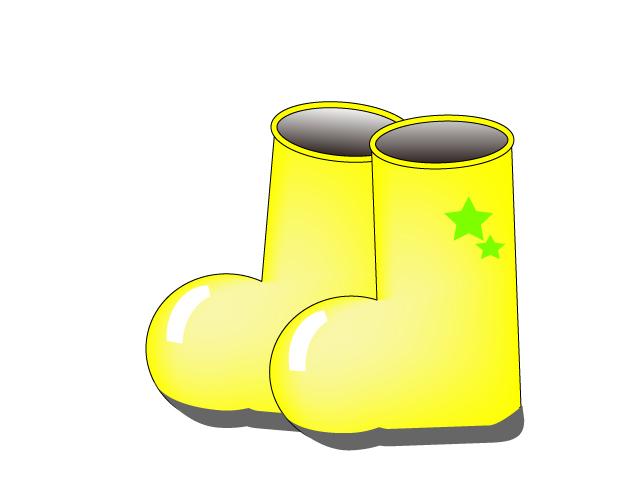 黄色いかわいい長靴のイラスト素材
