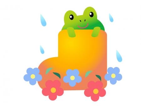 カエルと長靴・梅雨イラスト素材