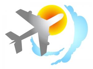 飛行機と空のイラスト素材