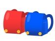 赤と青のランドセルのイラスト素材