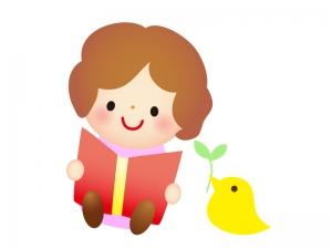 絵本を読んでいる子供のイラスト素材