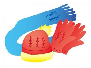 手編みの手袋と帽子・マフラーのイラスト素材