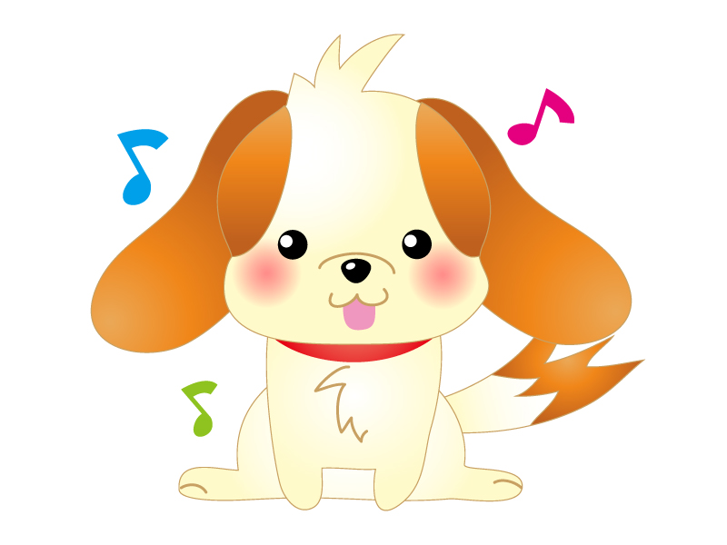 音楽を聞いている犬のイラスト素材
